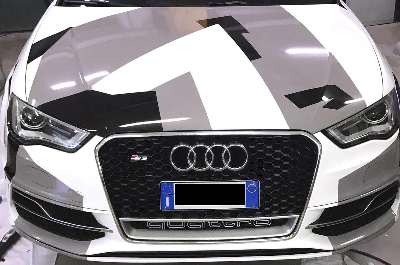 car wrapping audi camuflage fronte