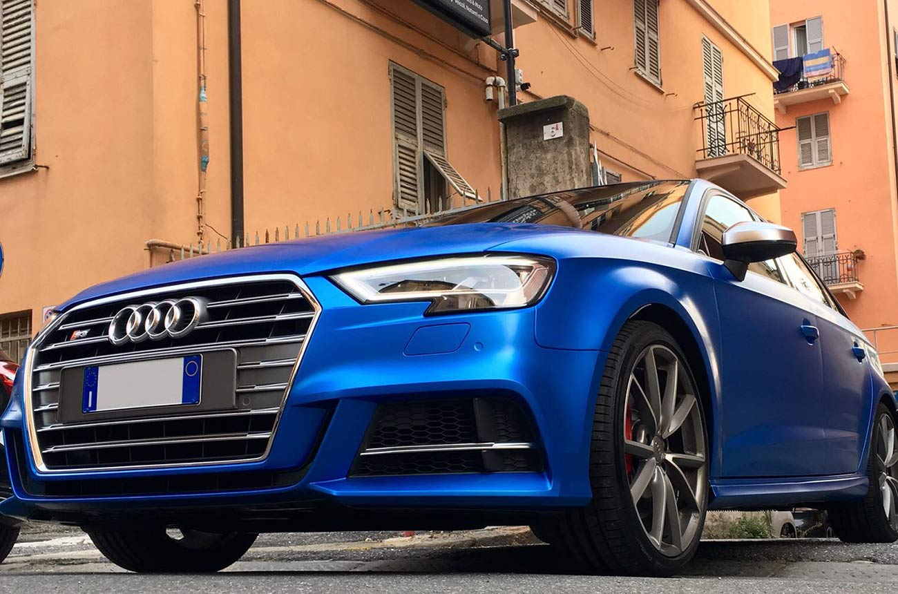 Audi s3 car wrapping tre quarti basso