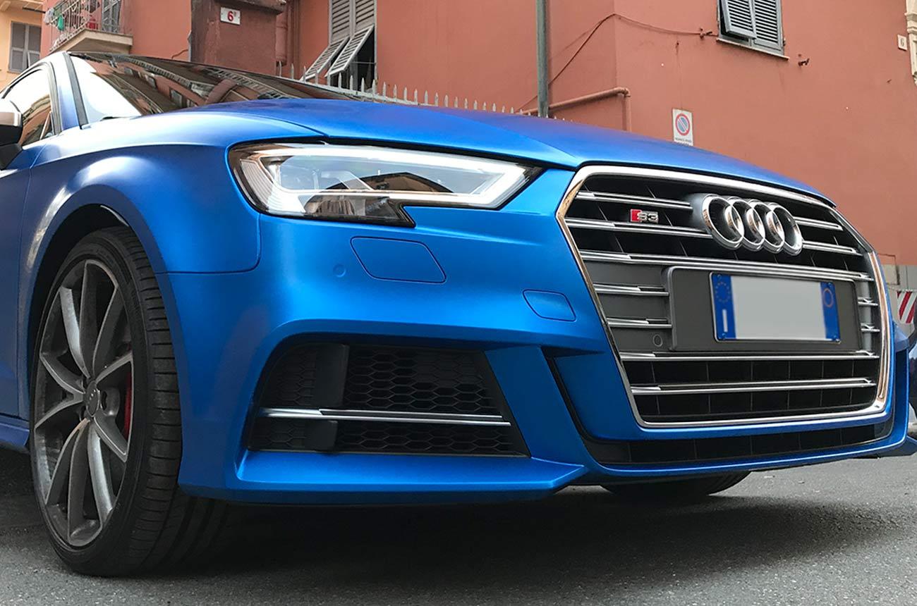 Audi s3 car wrapping tre quarti