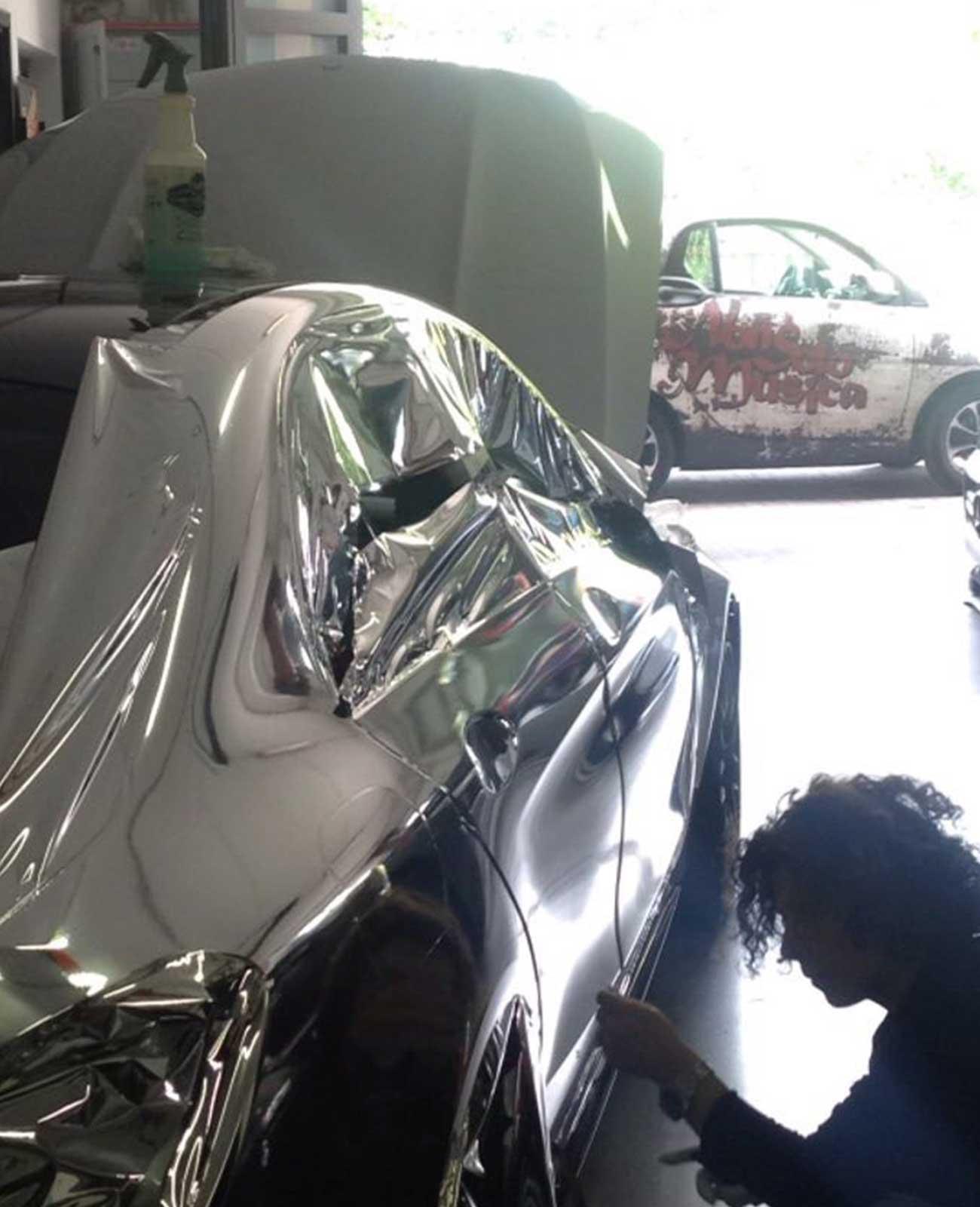 mercedes cromata car wrapping lavorazione