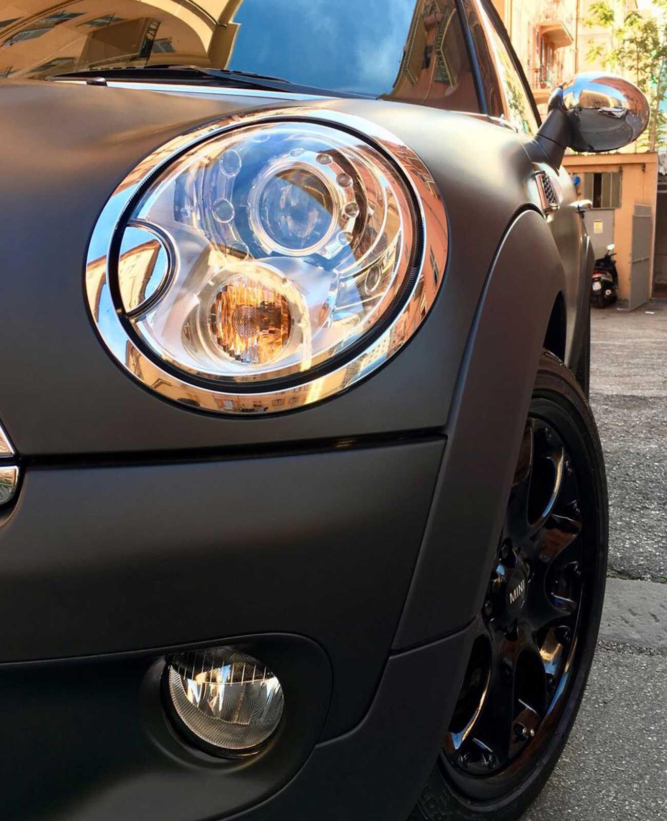 mini car wrapping nera dettaglio