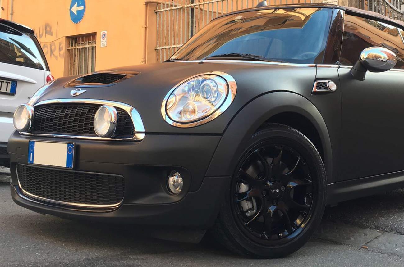 mini car wrapping nera tre quarti2