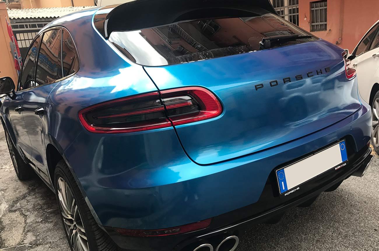 porsche cayenne blu car wrapping retro 3-4