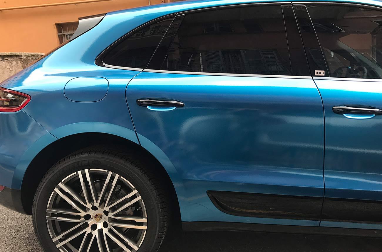porsche cayenne blu car wrapping retro